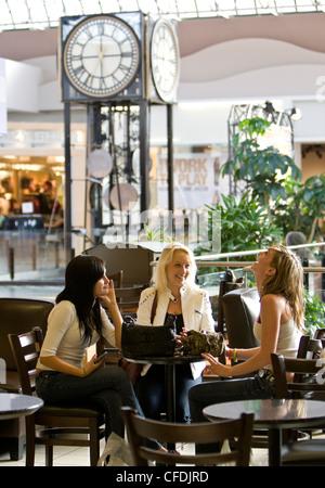 Tres chicas adolescentes compartir reír compras