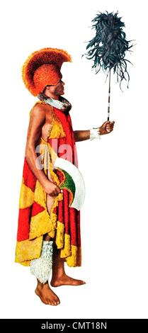 1924 Hawaiian Cacique Manto de plumas y edredones de plumas y sombrero Casco Kahili