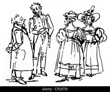 Schadow, Johann Gottfried, 20.5.1764 - 27.1.1850, escultor alemán y artista gráfico, obras, exposición de arte, grabado, dibujo, circa 1835, Foto de stock
