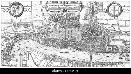 Dibujo histórico desde el siglo XIX, el mapa de Londres, Inglaterra, 1575