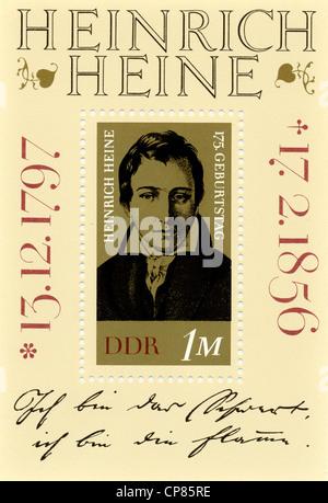 Sellos postales históricas, RDA, Historische Briefmarke der DDR, Heinrich Heine, Deutsche Demokratische Republik, 1972