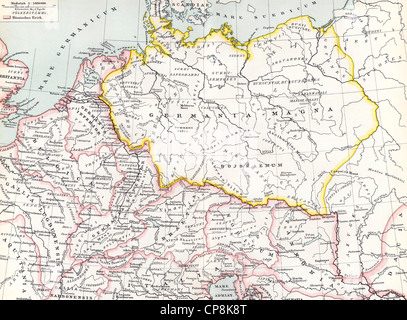 Mapa histórico del siglo XIX, representación de Germania en el siglo XII,