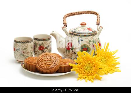 Mooncake y té,chino de mediados de otoño festival de alimentos.