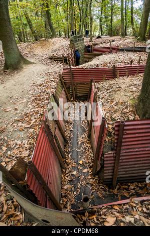 Guerra Mundial 1 trincheras en el Santuario de madera, Ypres, Bélgica