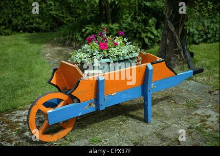 Naranja y Azul ornamentales de madera hecha a mano, carretilla con flores,