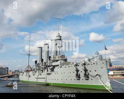 Crucero Aurora en San Petersburgo, Rusia Foto de stock