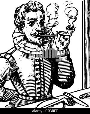 , Sir Walter Raleigh, circa 1554 - 29.10.1618, el navegante inglés, Fumar Fumar con pipa, grabado en cobre, artista Foto de stock