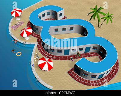 Símbolo de párrafo, la playa, la ilustración, la imagen simbólica de la ley de viaje