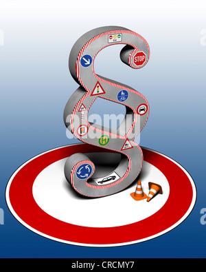 Señal de tráfico, signo de sección, la ilustración, la imagen simbólica para la ley de tráfico