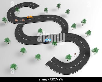 Coches en una carretera, con forma de signo de sección, la ilustración, la imagen simbólica para la ley de tráfico