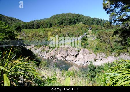El puente colgante más largo de Nueva Zelanda cruzando el río Buller en el parque de aventura y patrimonio Buller Gorge cerca de Murchison en la autopista estatal 6 noroeste