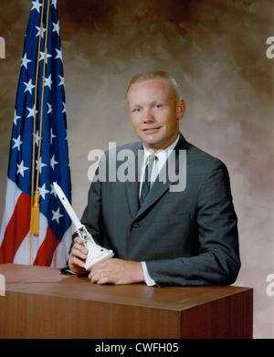 Principios retrato de astronauta de la NASA Neil Armstrong. Foto de stock