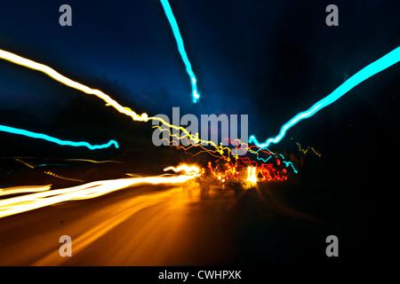 Lámparas,vía de luces Foto de stock