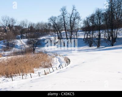 Idílico paisaje de invierno cerca de la granja de los reyes Bygdøy en Oslo Noruega , cañas un sendero, una valla y campos con árboles cubiertos de nieve.