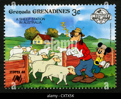 Sello de granada - personajes de dibujos animados de Disney - Mickey Mouse y Goody