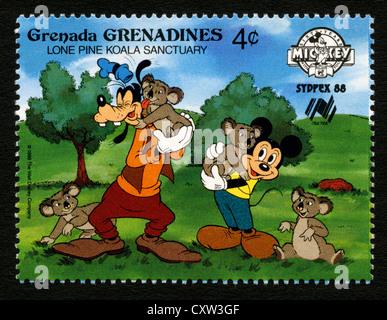 Sello de granada - personajes de dibujos animados de Disney - Mickey Mouse y Goofy