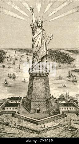 La estatua de la Libertad, Nueva York, Estados Unidos de América poco después de su dedicación el 28 de octubre de 1886. Foto de stock