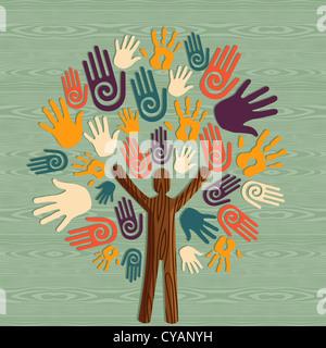 Diversidad Global al hombre como árbol del tronco manos ilustración. Capas de archivo vectorial para una manipulación fácil y coloración personalizada. Foto de stock