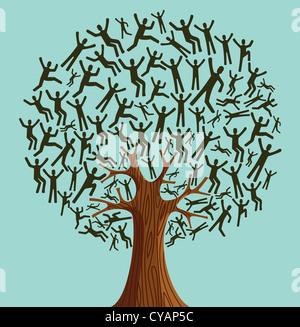 Diversidad aislado pueblo árbol ilustración. Capas de archivo vectorial para una manipulación fácil y coloración Foto de stock
