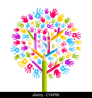 Diversidad aisladas en concepto de capacitación manos árbol ilustración. Capas de archivo vectorial para una manipulación Foto de stock