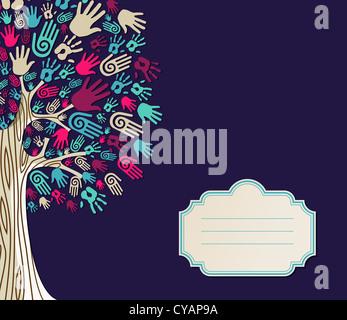 Diversidad de manos de árbol ilustración con texto en blanco para la plantilla de tarjeta de felicitación. Capas de archivo vectorial para una manipulación fácil y coloración personalizada. Foto de stock