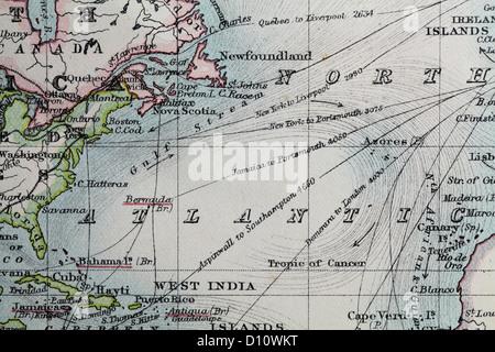 Mapa antiguo por W y A&K Johnston, impreso en c.1888. Ilustrando el mundo. Zoom en el Océano Atlántico Norte
