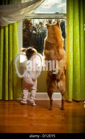 Baby Girl and dog mirar fuera de la ventana