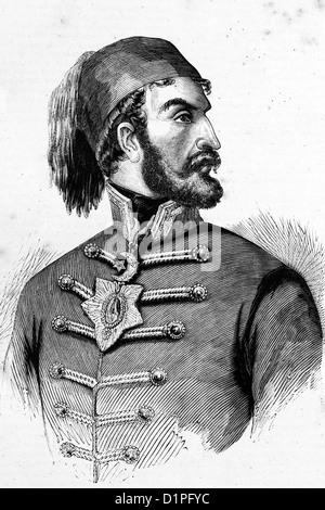 Omer Pacha o Omar Pasha (1806-1871) y gobernador general otomano. Ilustración de antigüedades, 1856.