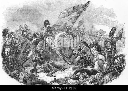 Napoleón Bonaparte (1769-1821), emperador de Francia. Batalla de Waterloo, 18thJune 1815. Ilustración de antigüedades, 1855. Foto de stock