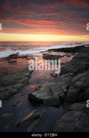 Atardecer en costa rocosa (Hermanus - la Provincia del Cabo, Sudáfrica)