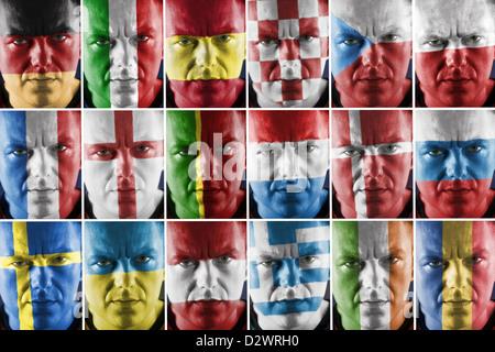 Collage de deporte partidario rostro pintado en el gran país europeo los colores de la bandera nacional