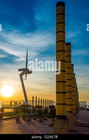 Torre de Calatrava, el Parque Olímpico, Barcelona, Cataluña, España