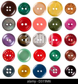 Cosiendo botones colección aislado sobre fondo blanco. Cada uno está rodada por separado.