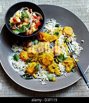 Con salsa de curry de calabaza de Goan rojal Foto de stock