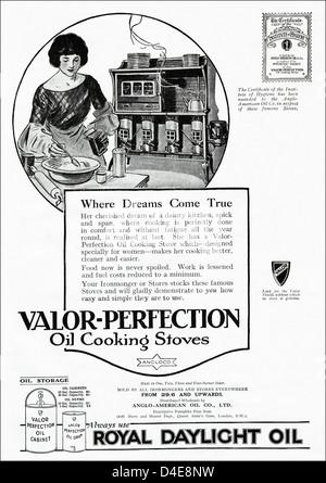 1920 original era vintage anuncio imprimir desde la revista inglesa publicidad VALOR-perfección cocinas y estufas de aceite