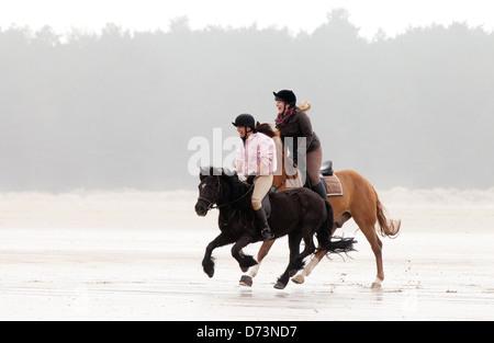 Las niñas cabalgar dos caballos galopando en la playa, Holkham Playa, Costa de North Norfolk UK