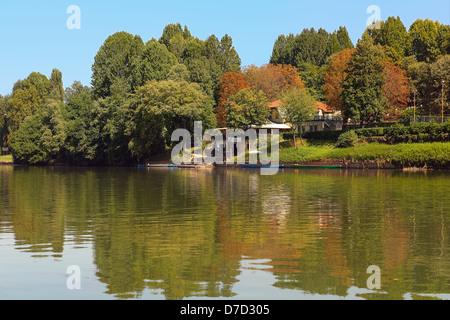 Verde, amarillo y rojo de los árboles en la orilla del río Po, en Turín, en el norte de Italia.