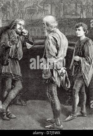 William Shakespeare (1564-1616). Escritor inglés. Hamlet y los cómicos. Acto II, escena II. Grabado.