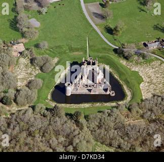 Vista aérea de Caerlaverock Castle cerca de Dumfries en el sudoeste de Escocia