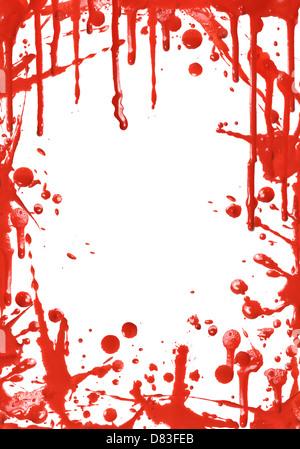 Trama de gotas de pintura roja sobre fondo blanco.