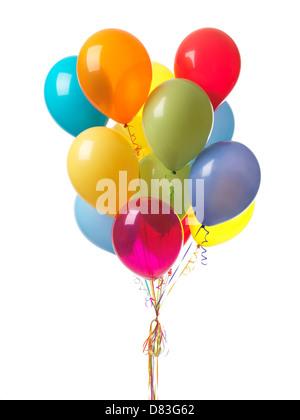 Coloridos globos de aire aislado sobre fondo blanco. Foto de stock