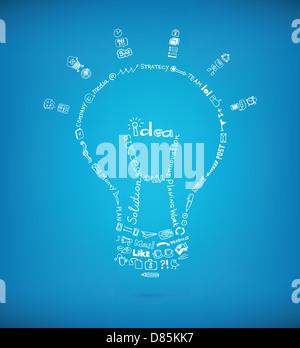 Bombilla de luz vectoriales creados por muchos negocios dibujados a mano croquis y elementos de diseño garabatos sobre fondo azul. Foto de stock