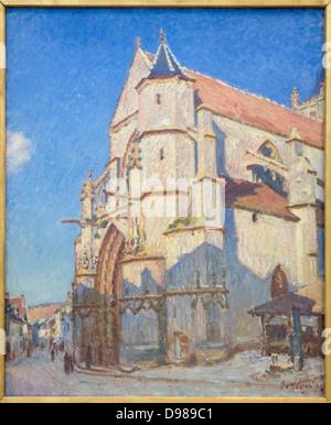 Alfred Sisley la Iglesia de Moret en la noche 1894 Óleo sobre lienzo Museo Petit Palais Paris - Francia