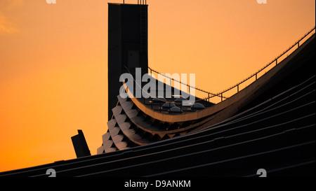 Acercar la suspensión del techo del gimnasio Nacional Yoyogi en la noche resplandor dorado