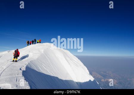 Cima, expedición de escalada en el monte McKinley, 6194m, el Parque Nacional Denali, Alaska, EE.UU.