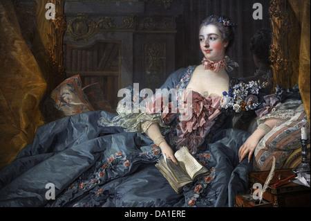 Francois Boucher (1703-1770). El pintor francés. Madame Pompadour, 1758. Detalle. Alte Pinakothek. Munich. Alemania.