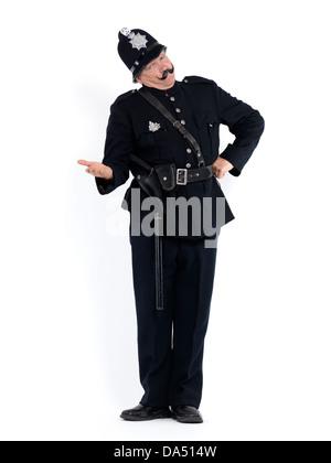 Oficial de policía en vintage uniforme con un brazo estirado y grave expresión exige documentos, humorístico retrato conceptual