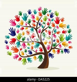 La diversidad multiétnica del árbol a mano ilustración sobre el patrón de banda de fondo. Capas de archivo vectorial para una manipulación fácil y coloración personalizada. Foto de stock