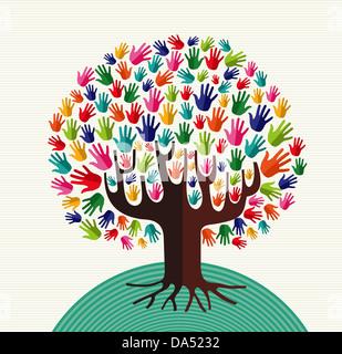 Colorida diversidad árbol ilustración manos sobre el patrón de banda de fondo. Capas de archivo vectorial para una manipulación fácil y coloración personalizada. Foto de stock