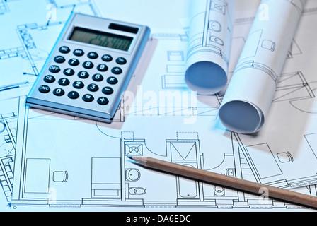 Blueprints y Calculadora Foto de stock